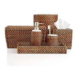 Martha Stewart Collection Al Fresco Bath Accessories Collection - The rich color of these woven bath accessories would be beautiful in an all-white bathroom.