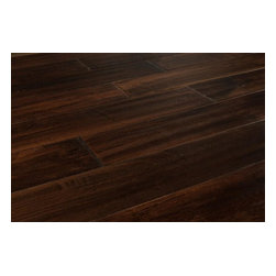 """Jasper - Jasper Hardwood - Handscraped Maple - [24.2 sq ft/box] - Maple Coffee / Builders / 5"""" -    With its dark, rich colouring and handscraped finish, Jasper provides customers with quality, visibly authentic flooring, which accentuates the beauty of the Maple species.    Comprised of mixed grade wood, these floors feature a high level of colour variation that can add a unique, textured look to any room��_but with the distinguished, and familiar look of Maple flooring. With a stunning combination of its rustic handscraped appearance, and its sleek satin gloss finish, Jasper's Maple floors can contribute to happy, stylish homes in either antique or modern aesthetics.     This line of Jasper Maple hardwood floors bring a seasoned beauty to any interior with a genuine handscraped surface. Jasper Handscraped flooring adds character and uniqueness to both residential and commercial interiors. This excellent line of flooring offeres a varied surface, which is also very durable, designed for ease of installation with micro-beveled ends and edges.    Jasper wood flooring is a quality leader in hardwood flooring. Jasper's tradition of manufacturing excellence is an integral part of every Jasper wood flooring product. Hardwood flooring is commonly produced as 3/4"""" thick strips or planks. Depending on the manufacturer machinery set up, all flooring between 18mm and 19.2mm is considered 3/4"""" thick.    Jasper wood flooring is coated with Treffert brand aluminum oxide. It is tongue and groove and comes with a 25 year warranty against finish wear and manufacturing/structural defects."""