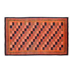 Modern Gabbeh Rug, Checkerboard Design Hand Knotted 5'X8' 100% Wool Rug SH9500 - Our Modern & Contemporary Rug Collections are directly imported out of India & China.  The designs range from, solid, striped, geometric, modern, and abstract.  The color schemes range from very soft to very vibrant.