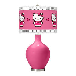 "Hello Kitty - Contemporary Blossom Pink Hello Kitty Pink and Polka Dots Ovo Table Lamp - Add a bold cheerful accent to your home décor with this Hello Kitty pink and polka dot glass table lamp. Hand-crafted by experienced artisans in our California workshops the Blossom Pink high-gloss base is topped with a matching Hello Kitty Pink and Polka Dots pattern shade officially licensed from Sanrio. This contemporary design brings the iconic Kitty to life on a custom-printed giclee shade made of high-quality translucent fabric that allows light to shine through the shade. U.S. Patent # 7347593. Officially licensed design from Sanrio. Blossom pink designer glass table lamp. Blossom pink Hello Kitty polka dot pattern translucent shade. Brushed steel finish accents. Maximum 150 watt bulb (not included). 28 1/2"" high. Shade is 15 1/2"" wide and 11"" high. Base is 6"" wide. May only ship to the United States its territories possessions and the Commonwealth of Puerto Rico. ©1976 2013 Sanrio Co. Ltd. Used Under License.  Officially licensed design from Sanrio.   Blossom pink designer glass table lamp.   Blossom pink Hello Kitty polka dot pattern translucent shade.   Brushed steel finish accents.   Maximum 150 watt bulb (not included).   28 1/2"" high.   Shade is 15 1/2"" wide and 11"" high.   Base is 6"" wide.  May only ship to the United States its territories possessions and the Commonwealth of Puerto Rico.  ©1976 2013 Sanrio Co. Ltd. Used Under License."
