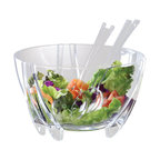 PRODYNE - 6-quart Illusions Salad Bowl Servers - Lettuce be clear. This salad set is the perfect choice for getting unbeatable style at your next party. The six-quart bowl has three sets of arcing double legs and is made of acrylic, so it's great for taking outside with the matching servers.