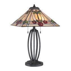Quoizel Lighting - Quoizel TF1694TVK Tiffany 2 Light Table Lamp, Vintage Black - Table lamp tiffany vintage black