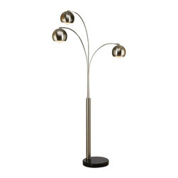 """Trend Lighting - Trend Lighting Triad Arc Floor Lamp - 2 pk. - Triad arc floor lamp has a brushed nickel finish. It uses three 60 Watt Type A light bulbs. Made in China.Dimensions: Measures 86"""" tall by 48"""" max span120V Med Base SocketsFoot dimmerBlack marble base"""