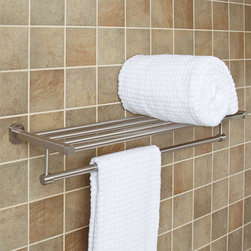 Marlton Double Towel Rack - Add storage to your bathroom with the Marlton Double Towel Rack. Featuring a spacious towel rack and lower towel bar, this piece is constructed of solid brass.