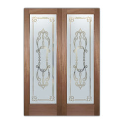 "Interior Glass Doors - Obscure Frosted Glass FAUX BEVELS PS PAIR - CUSTOMIZE YOUR INTERIOR GLASS DOOR!  Interior glass doors ship for just $99 to most states, $159 to some East coast regions, custom packed and fully insured with a 1-4 day transit time.  Available any size, as interior door glass insert only or pre-installed in an interior door frame, with 8 wood types available.  ETA will vary 3-8 weeks depending on glass & door type.........Block the view, but brighten the look with a beautiful interior glass door featuring a custom frosted glass design by Sans Soucie!   Select from dozens of sandblast etched obscure glass designs!  Sans Soucie creates their interior glass door designs thru sandblasting the glass in different ways which create not only different levels of privacy, but different levels in price.  Bathroom doors, laundry room doors and glass pantry doors with frosted glass designs by Sans Soucie become the conversation piece of any room.   Choose from the highest quality and largest selection of frosted decorative glass interior doors available anywhere!   The ""same design, done different"" - with no limit to design, there's something for every decor, regardless of style.  Inside our fun, easy to use online Glass and Door Designer at sanssoucie.com, you'll get instant pricing on everything as YOU customize your door and the glass, just the way YOU want it, to compliment and coordinate with your decor.   When you're all finished designing, you can place your order right there online!  Glass and doors ship worldwide, custom packed in-house, fully insured via UPS Freight.   Glass is sandblast frosted or etched and bathroom door designs are available in 3 effects:   Solid frost, 2D surface etched or 3D carved. Visit our site to learn more!"