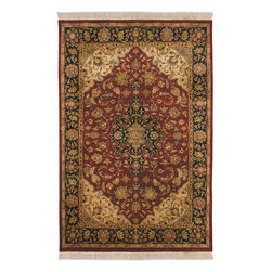 Taj Mahal TJ2000 Burgundy Red Rug - 2'x3' - Taj Mahal TJ-2000 Burgundy Red: Traditional rugs inspired by Persian rugs, Antique Oriental rugs or other traditional area rugs are available now. ModernRugs. om is now also featuring traditional rug designs. Traditional Persian and Oriental rugs from ModernRugs. om are now available in a variety of colors and styles, and complement any space. Our traditional Persian rugs provide an elegant look. These Traditional antique Oriental rugs are timeless and add a touch of class to your home. This Persian area rug is Hand Knotted in India with 100% Semi-Worsted New Zealand Wool. The specific colors of this rug include Burgundy Red, Black, Gold, Moss Green, Sage Green, Beige. he primary color of this rug is red.