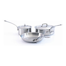 Mauviel - Mauviel M'cook Stainless Steel Cookware Set, 5 pc., Cast Stainless Steel Handles - 5 ply Construction - High performance cookware, works on all cooking surfaces, including induction.