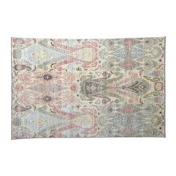 1800GetARug - Hand Knotted Rug Soft Colors Geometric Ikat Uzbek Rug Sh4892 - About Tribal & Geometric