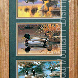 Rocky Mountain Publishing - Waterfowl, Cynthie Fisher Wildlife Art Framed Set 10x20 - Wildlife  Art  -  A  triple  set  of  beautiful  waterfowl  paintings  by  Cynthie  Fischer,  this  wildlife  art  set  includes  depictions  of  mallard  ducks  and  geese  in  Fischer's  signataure  style.  Double  matted  in  a  rustic  wood  frame.  Perfect  for  the  nature  lover.                  Matting  and  glass  dimensions  10  W  x  20  H;  Exterior  frame  measures  approximately  16  Wx26  H              Glass,  3-inch  double  mats  included              Treated  with  an  acid-free  sealant  to  protect  from  fading              Hanging  system  pre-installed              Made  in  USA              Allow  2  weeks  for  shipping