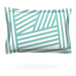 """Kess InHouse - Louise Machado """"Aqua Stripes"""" Pillow Sham (Woven, 40"""" x 20"""") - Pairing your already chic duvet cover with playful pillow shams is the perfect way to tie your bedroom together. There are endless possibilities to feed your artistic palette with these imaginative pillow shams. It will looks so elegant you won't want ruin the masterpiece you have created when you go to bed. Not only are these pillow shams nice to look at they are also made from a high quality cotton blend. They are so soft that they will elevate your sleep up to level that is beyond Cloud 9. We always print our goods with the highest quality printing process in order to maintain the integrity of the art that you are adeptly displaying. This means that you won't have to worry about your art fading or your sham loosing it's freshness."""