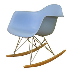 Wholesale Interiors - Baxton Studio Contemporary Blue Rocking Chair - With a new twist on a classic favorite, the Baxton Studio modern rocking chair is sure to get lots of attention. Molded light blue plastic seat is contoured to fit your body, and the surface can easily be wiped clean when necessary. Solid steel trestle style supports are finished with brilliant chrome for a touch of sparkle. Solid ash rocker arms complete the unique look of this outstanding contemporary chair. Sky blue heavy-duty plastic seat. Chromed steel supports. Ash wood rockers. Assembly required. 24 in. W x 23 in. L x 27 in. H (17 lbs.)A minimalistic, contemporary rocking chair, this design will maximize style and the number of head-turns while eliminating pretentiousness in your room. The modern rocker is crafted with an eye-catching robin�۪s egg blue seat over a very supportive chromed steel base support. The whimsical rocking feature is supported by the light-stained ash wood legs.