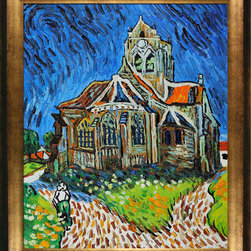 "overstockArt.com - Van Gogh - The Church at Auvers Oil Painting - 20"" x 24"" Oil Painting On Canvas Hand painted oil reproduction of a famous Van Gogh painting, The Church at Auvers. The original masterpiece was created in 1890. Today it has been carefully recreated detail-by-detail, color-by-color to near perfection. Why settle for a print when you can add sophistication to your rooms with a beautiful fine gallery reproduction oil painting? Vincent Van Gogh's restless spirit and depressive mental state fired his artistic work with great joy and, sadly, equally great despair. Known as a prolific Post-Impressionist, he produced many paintings that were heavily biographical. This work of art has the same emotions and beauty as the original by Van Gogh. Why not grace your home with this reproduced masterpiece? It is sure to bring many admirers!"