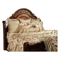 Brittany Duvet Set, Ultra King - Taupe and Sea Spray colored Damask patterns enhanced with ruching, and enriched with opulent trims and beading.