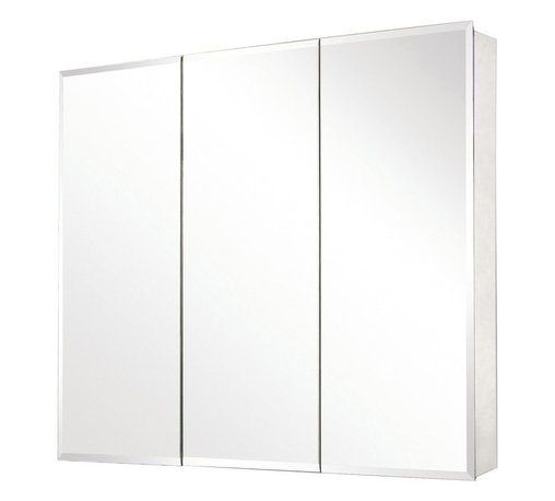 Pegasus - Tri-View Beveled Mirror 36 in. Medicine Cabin - Manufacturer SKU: SP4589. Includes side mirror and hanging kit. Adjustable glass shelves. Rust-free aluminum case. Self-closing hinges open upto 110 degree. Recess or surface mount. 36 in. W x 5 in. D x 31 in. H (64.4 lbs.)