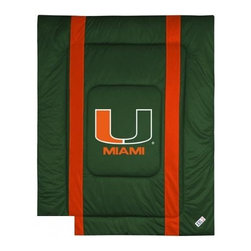 Sports Coverage - Sports Coverage Miami Hurricanes Bedding - Sidelines Comforter - Full - Show your team spirit with this great looking officially licensed Miami Hurricanes comforter which comes in new design with sidelines. This comforter is made from 100% Polyester Jersey Mesh - just like what the players wear. The fill is 100% Polyester batting for warmth and comfort. Featuring authentic Miami Hurricanes team colors, each comforter has the authentic Miami Hurricanes logo screen printed in the center. Soft but durable. Machine washable in cold water. Tumble dry in low heat. Covers are 100% Polyester Jersey top side and Poly/Cotton bottom side.
