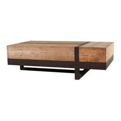 Knock on Wood Coffee Table - Cutting edge design merges with a hefty piece of wood to create an unforgettable coffee table. The generous space below makes the perfect place to secretly store magazines and other goods.