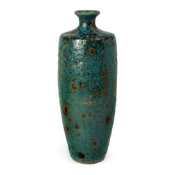 """IMAX - Tall Napa Vase - The reactive turquoise glaze on the Napa Vase creates a surface of intense intrigue, with an almost organic quality. For a coordinated look purchase both sizes. Item Dimensions: (19""""h x 7.25""""d)"""