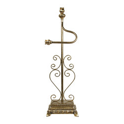 Sterling Industries - Proper Toilet Paper Holder - Spruce up any bathroom with a Sterling decorative freestanding toilet paper holder. While it remains functional, a touch of style is added to any classic bathroom decor. The open hook styling is finished with a decorative tulip finial, and the metal scroll work along the vertical pole is set into a decorative rectangle base. Holder is 31.5 inches tall and the base is 8 inches long and 6 inches wide. Made from metal/composite materials in an antiqued brass finish.