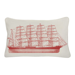 Thomas Paul - Outdoor Pillows, Tall Ship - Bold and graphic; these are words often used to describe crazy uncles and women's fashion, but they are also the perfect words to describe the textile collection of design industry darling Thomas Paul. His prints are the perfect addition to any space needing a splash of character.