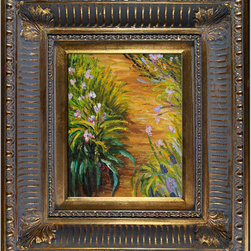 "overstockArt.com - Monet - Irises Oil Painting - 8"" x 10"" Oil Painting On Canvas Hand painted oil reproduction of a famous Monet painting, Irises. The original masterpiece was created between 1914 and 1917. Today it has been carefully recreated detail-by-detail, color-by-color to near perfection. Why settle for a print when you can add sophistication to your rooms with a beautiful fine gallery reproduction oil painting? While Monet successfully captured life's reality in many of his works, his aim was to analyze the ever-changing nature of color and light. Known as the classic Impressionist, Monet cannot help but inspire deep admiration for his talent in those who view his work. This work of art has the same emotions and beauty as the original. Why not grace your home with this reproduced masterpiece? It is sure to bring many admirers!"