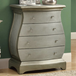 Monarch - Brushed Gold Veneer Contemporary Bombay Chest - If you are looking for class and style you have found it. Add this bent hour glass shaped 4 drawer brushed gold bombay chest to your home. Detailed lucite knobs adorn the industrial textured drawer fronts to make this piece a true fashion statement.