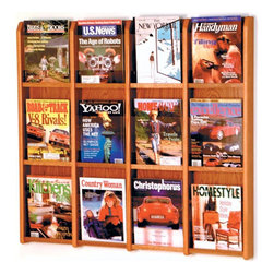 Wooden Mallet - Divulge Magazine Wall Rack w 12 Pockets - Includes pre-drilling and mounting hardware for installation. Frame made from solid oak. Front panel made from plastic. Back panel made from HDF. Made in USA. Medium oak finish. No assembly required. Pocket: 9 in. W x 2 in. D x 12 in. H. Overall: 39.75 in. W x 2.86 in. D x 36.34 in. H (39 lbs.). WarrantyOak and Acrylic Wall Displays will add warmth and class to your magazine display. Clear acrylic panels allow full view of literature while keeping it neat and organized.