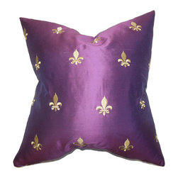 "The Pillow Collection - Inez Silk Pillow Purple - Dress up your sofa, bed or seat with this lovely accent pillow from our collection. This luxurious accent piece adds personality to your living room or bedroom with this toss pillow. Featuring a metallic purple hue and gold geometric detail, this 18"" pillow looks great on its own. Made of 100% soft and high-quality silk material. Hidden zipper closure for easy cover removal.  Knife edge finish on all four sides.  Reversible pillow with the same fabric on the back side.  Spot cleaning suggested."