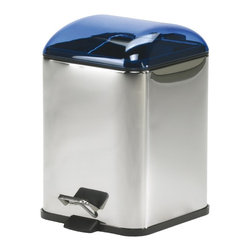 WS Bath Collections - Karta Metal Waste Basket in Blue - Karta 5363 by WS Bath Collections 8.3 x 8.3 x 11.4 Waste Basket, Waste Basket Includes Removable Inner Basket Foot-pedal Opening, Made of Galvanized Chromed Abs, Transparent Coloured Polycarbonate Bright Stainless Steel Body, Made in Italy