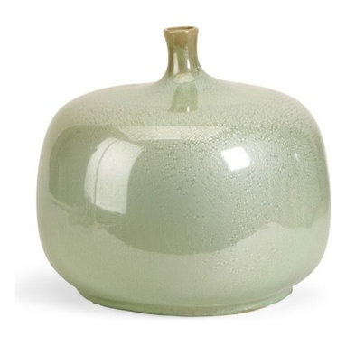 iMax - Massey Short Vase - The Massey vase is sure to be a statement in anyone's home. The variegated greens and rotund shape demand attention! Earthy and warm, this bowl make a perfect gift or decorative accent. For a coordinated look purchase matching bowl and vase.