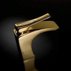 S. Diamond bathroom faucet. Gold. Swarovski crystal inlaids. - S. diamond single basin faucet with genuine and sparkling swarovski crystal elements on the lever handle. Includs pop-up waste. Gold.