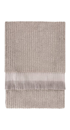 Nine Space - Ribbed Bath Sheet, Oatmeal - Lend a luxurious look to your bath with this everyday essential that's anything but basic. Jacquard weaving patterns both sides of this bath sheet with a subtle ribbed design for great texture. Made from pure Turkish cotton and finished with hand-tied fringe on both ends.