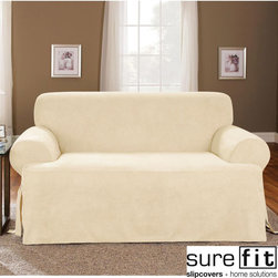 Sure Fit - Soft Suede Cream T-cushion Sofa Slipcover - This Sure Fit slipcover brings the luxury of suede down to earth,making it easy to care for and affordable. Constructed of velvety polyester,this cream slip cover is an excellent way to update your decor.