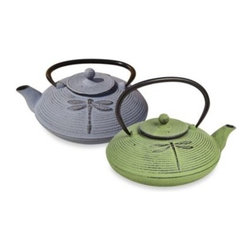 """Tetsubin - Tetsubin """"Placidity"""" 26-Ounce Cast Iron Tea Pots with Infuser - These graceful and distinctively-shaped cast iron tea pots are inspired by highly-prized antique Japanese cast iron teapots still in use today. Adorned with an eye-catching dragonfly treatment, each makes up to 3 cups of tea and features a subtle, vintage"""