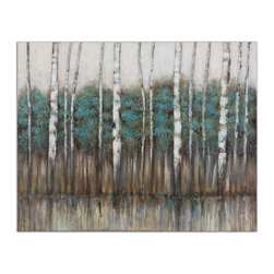 Uttermost - Uttermost 34284  Edge Of The Forest Canvas Art - This hand painted artwork on canvas is stretched and applied to wooden stretchers. due to the handcrafted nature of this artwork, each piece may have subtle differences.