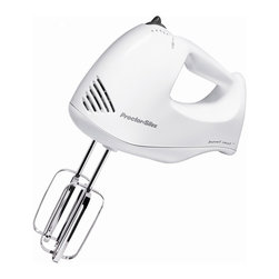 Hamilton Beach - 5 Speed Hand Mixer - This Proctor-Silex Plus 5 speed Hand Mixer comes with a clear storage case that snaps on to the bottom of the mixer which keeps your mixer, attachments and cord neatly organized. It comes with full-size chrome beaters and whisk. Its Bowl Rest feature allows it to rest directly on a bowl eliminating drips and messy cleanup. 150 Watts.