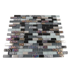 "Nimbus Gray Blend Bricks Marble & Glass Tile - Nimbus Gray Blend Bricks 1/2""xRandom"" Glass and Stone Tile This striking combination of the iridescent, black and stainless steel glass with the gray/white stone marble creates a dramatic and stylish back splash to any room. The wavy polish finish gives a distinctive appearance; great to use for the bathroon, kitchen installation. Chip Size: 1/2"" x Random Color: Iridescent, Black, Stainless, and Gray/White Material: Glass and Stone Finish: Polished, Textured and Brushed Sold by the Sheet - each sheet measures 12"" x 13"" (1.08 sq. ft.) Thickness: 8mm Please note each lot will vary from the next."