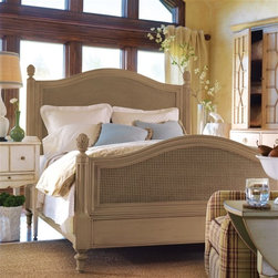 Somerset Bay - Somerset Bay Frenchtown Bed, Vanilla Bean, California King Bed - Your ship of dreams awaits. Set sail for a hidden paradise of sapphire blue waters, hunter green hills and cloudless skies in Somerset Bay��_��_s Frenchtown bed. Curved head and footboards mimic the ocean waves while caned insets add texture, charm and interest. Fluted posts are topped by finials for a stylish finishing touch. Bed is crafted from renewable sourced mahogany. Choose a size and one of many delicious ��_��_��_dessert��_��_ finishes ��_��_��_ blueberry crisp, apricot tart, gelato, truffle and more ��_��_��_ all applied and distressed by hand for a truly unique look. The Somerset Bay patina is achieved using a six-step finishing process that is followed by distressing, dry-brushing, and antiquing all done by hand.