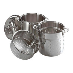 All Clad - All Clad SS Mutli Cooker Set - Heavy guage, stainless steel stock pot can be used alone for large-batch cooking of soups and stocks, or with one or both inserts. Use the basket to steam broccoli over noodles boiling in the pasta insert for a truly one-pot meal. Riveted stainless steel handles on stock pot and insert provide safe and easy handling. Lid traps heat and steam.                                                                                                                                                  -Finest-quality, highly-polished 18/10 stainless steel
