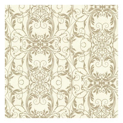 Brewster Home Fashions - Tianna Gold Ironwork Scroll Wallpaper Bolt - A dazzling synthesis of glamorous glitter and exquisite swirls makes an elegant and cultured backdrop for decor. Gold scrolls inspired by ancient ironwork decoration and ornamental Baroque themes are delicately laid over a soft patina distress.