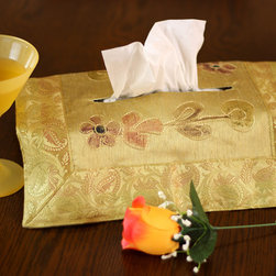 """Tissue Box Covers - Eye Catching """"Dark Gold"""" tissue box cover. Hand painted design made in India. Dupion Silk fabric. Unique and decorative tissue box cover."""