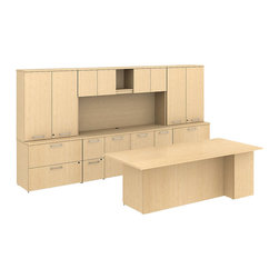 "Bush - Bush 300 Series 84"" Conference Desk with Storage Wall in Natural Maple - Bush - office Sets - 300S009AC - Integrated scalable and suite ready BBF Natural Maple 300 Series 84""W x 36""D Conference Desk with Storage Wall offers ample work surface and plenty of storage. Use as a complete kit or as building blocks to create larger or smaller configurations depending on space. Conference desk features a solid 1""-thick work surface that won't sag and combines two box drawers for office supplies and one file drawer for letter- legal-or A4-size files. Convenient Storage Credenza has four file drawers and a center storage cabinet with an adjustable shelf to help keep desk area tidy. Right-and-left side lateral file configurations with overhead storage create an impressive backdrop. 36""W Tall Wardrobe can hold coats or other personal effects. Desktop wire management grommets provide easy access and concealment of unsightly cords and cables. Diamond Coat (TM) top surfaces resist scratches stains dings and dents. Durable edge banding protects against collisions. Includes BBF Limited Lifetime warranty."