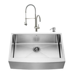 """VIGO Industries - VIGO All in One 33-inch Farmhouse Stainless Steel Kitchen Sink and Faucet Set - Modernize the look of your entire kitchen with a VIGO All in One Kitchen Set featuring a 33"""" Farmhouse - Apron Front kitchen sink, faucet, soap dispenser, matching bottom grid and sink strainer."""