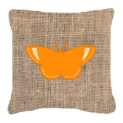 Caroline's Treasures - Butterfly Burlap and Orange Fabric Decorative Pillow BB1029 - Indoor or Outdoor Pillow made of a heavy weight canvas. Has the feel of Sunbrella fabric. 14 inch x 14 inch 100% Polyester Fabric Pillow Sham with Pillow form. This Pillow is made from our new canvas type fabric can be used Indoor or outdoor. Fade resistant, stain resistant and Machine washable.