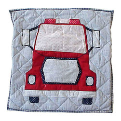 Patch Quilts - Fire Truck Fire truck Toss Pillow 16 x 16 Inch - Decorative applique Quilted Pillow Bed and Home Ensembles and Bedding items from Patch Magic   - Machine washable  - Line or Flat dry only Patch Quilts - TPFRTRFT