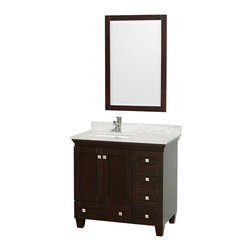 """36"""" Single Bathroom Vanity in Espresso, Countertop, Undermount Sink, Mirror - Sublimely linking traditional and modern design aesthetics, and part of the exclusive Wyndham Collection Designer Series by Christopher Grubb, the Acclaim Vanity is at home in almost every bathroom decor. This solid oak vanity blends the simple lines of traditional design with modern elements like brushed chrome hardware, resulting in a timeless piece of bathroom furniture. Featuring soft close door hinges and drawer glides, you'll never hear a noisy door again! Available in multiple sizes and finishes."""