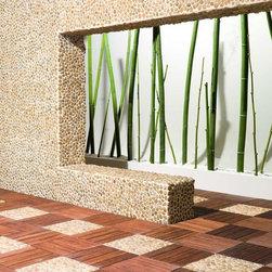 Amber Pebble Tile - A beautiful installation of polished amber pebble tile and ipe wood deck tile