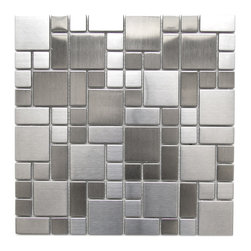 Eden Mosaic Tile - Modern Cobble Pattern Stainless Steel Mosaic Tile Pack (11 Sheets) - Inspired by the antique cobblestone streets of Europe this metal mosaic stainless steel tile features three different sizes of tile including a large square small square and medium brick. This tile is ideal for stainless steel kitchen backsplashes, accent walls, bathroom walls, and bathroom back splashes. The tiles in this sheet are mounted on a nylon mesh which allows for an easy installation. Imported.