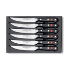 Wusthof - Wusthof Classic 6 Piece Steak Knife Set - This Wusthof Classic steak knife set includes the following items: Six, 4.5 inch steak knives. Hand wash only. Lifetime warranty from Wusthof with normal use and proper care. Made in Solingen Germany.