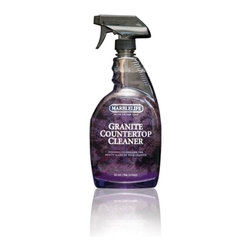 Our Natural Stone Care Products - Marblelife's Granite Countertop Cleaner is specifically designed to easily remove oils, grease, food and adhesives from the small pores of your kitchen counters or bathroom vanity.  This granite cleaner is very unique in that unlike most other products, it actually removes the residues left by the other products and reveals the hidden natural beauty of your stone without the need of polishing.  You will be amazed at how beautiful your granite and quartz still is just by giving them a real cleaning with this best granite cleaner.