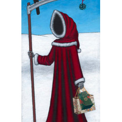 """Death Takes A Shopping Holiday"" (Original) By Kamilla White - Even Death Needs To Take A Break Now And Them. Here He Is, Decked Out In His Finest Holiday Togs, Bustling About In Search Of The Perfect Gift. Note The Faithful Crow Companion And The Cheerful Mistletoe Accessory Dangling From The End Of The Scythe Blade. Perhaps A Sequel Entitled ""Kiss Of Death"" Should Follow."